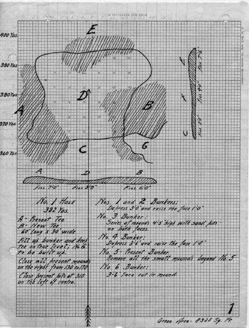 Donald's design sketch of a hole on Pinehurst No. 2